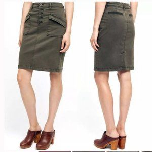 Pilcro Army Green Button Fly Chino Pencil Skirt